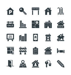 Real estate cool icons 4 vector