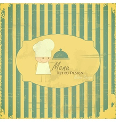 Vintage Menu Card with chefs on striped background vector image