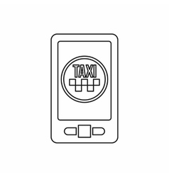 Taxi app in phone icon outline style vector