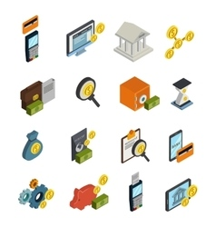 Atm isometric icon set vector