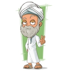 Cartoon old arabian man with beard vector