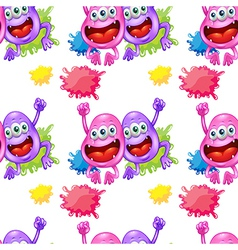 A seamless template with monsters vector image