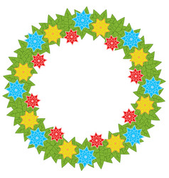 a wreath of flowers on a white background vector image