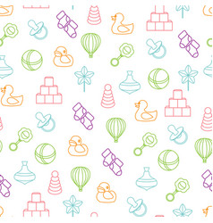 Baby toys seamless pattern on white background vector