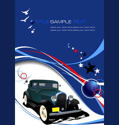 Blue business background with retro car image vector