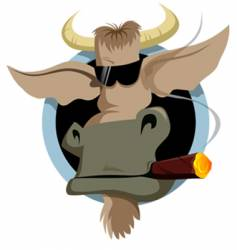 bull and cigar vector image