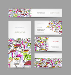 Business cards design with citycsape sketch vector