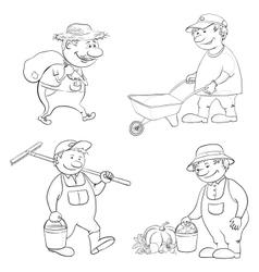 Cartoon gardeners work outline vector image vector image