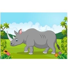 Cartoon happy rhinoceros vector