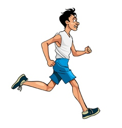 cartoon man in sportswear running side view vector image vector image