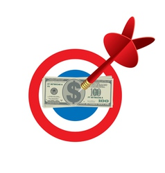 Darts Game Target With Money In The Center vector image