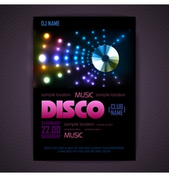 Disco poster neon background vector