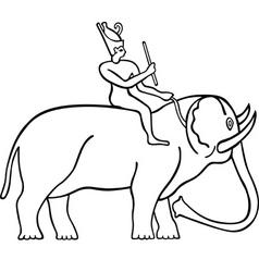 Egyptian man on the elephant vector