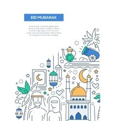 Eid Mubarak - line design brochure poster template vector image vector image