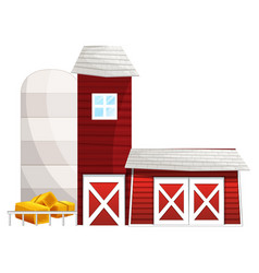 Farming scene with silo and barns vector