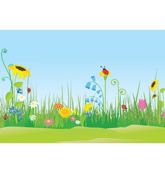 Flower meadow with ladybug vector