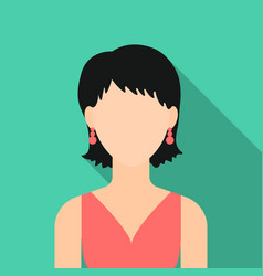 Girl with earrings icon flat single avatar vector