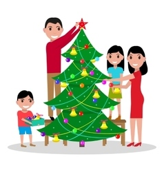happy family decorates Christmas tree vector image