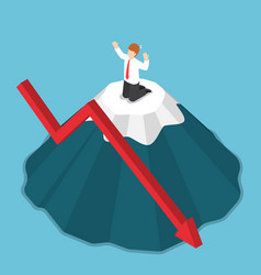 Isometric businessman stuck on the top of mountain vector