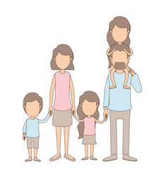 Light color caricature faceless big family parents vector