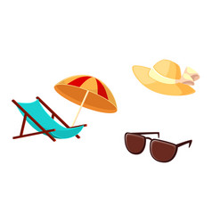 lounge chair beach umbrella straw hat sunglasses vector image