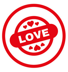 love stamp seal rounded icon vector image