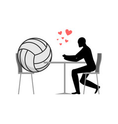 Lover volleyball ball and guy in cafe lovers in vector