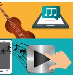 Mobile music fiddle and player note banner vector