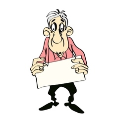 Old gray-haired man with a poster in his hands vector