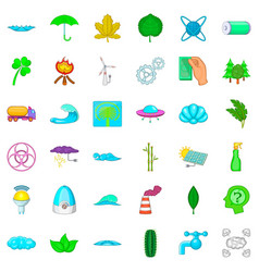 organic icons set cartoon style vector image vector image