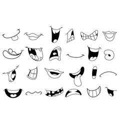 outlined cartoon mouths vector image vector image