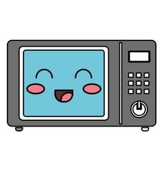 Oven microwave kawaii character vector