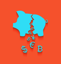 Pig money bank sign whitish icon on brick vector