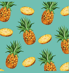 pineapple fruit fresh seamless pattern design vector image
