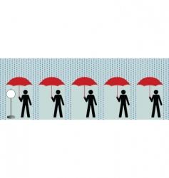 queue in rain vector image vector image