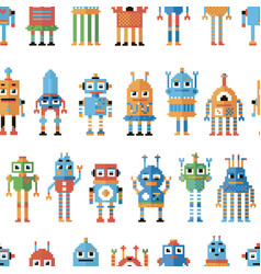 Seamless pattern with pixel robots vector