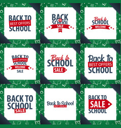 set of back to school backgrounds education vector image