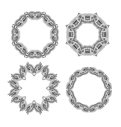 set of round ornament frames vector image vector image