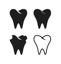 set of simple black tooth vector image vector image