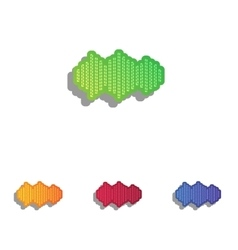 Sound waves icon colorfull applique icons set vector