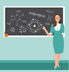 teacher in front of class explain chemistry vector image vector image