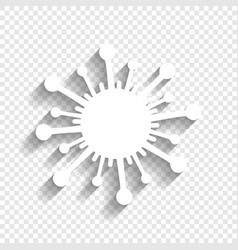 Virus sign white icon with vector