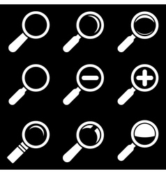 White Magnifier Glass Icons vector image
