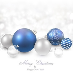 Winter background with blue christmas balls vector image