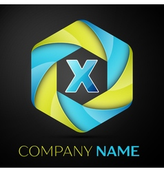X letter colorful logo in the hexagonal on black vector
