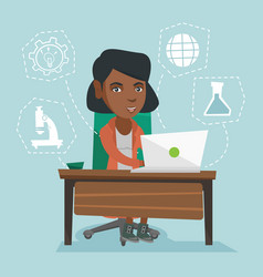 young african-american student working on a laptop vector image