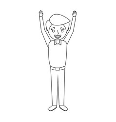 young man happy raising arms smiling vector image