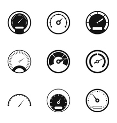 Speed measurement icons set simple style vector