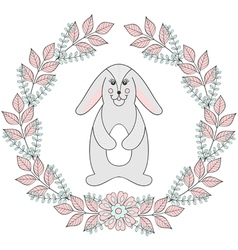 Happy easter greeting card template funny bunny vector