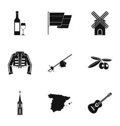 European spain icons set simple style vector